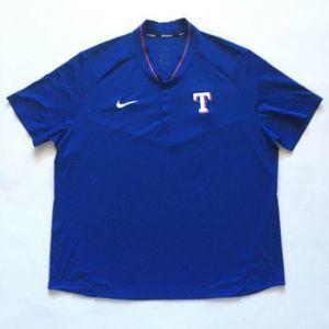 Texas Rangers Nike  Collarless Blue Snap Polo XXL